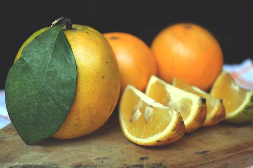 Freshly sliced orange